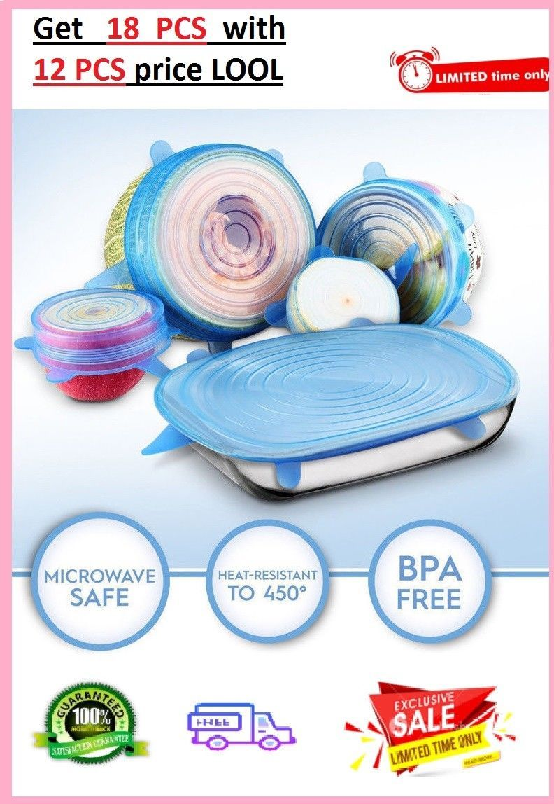 Details about 18 Pcs Silicone Suction Lid-bowl Universal