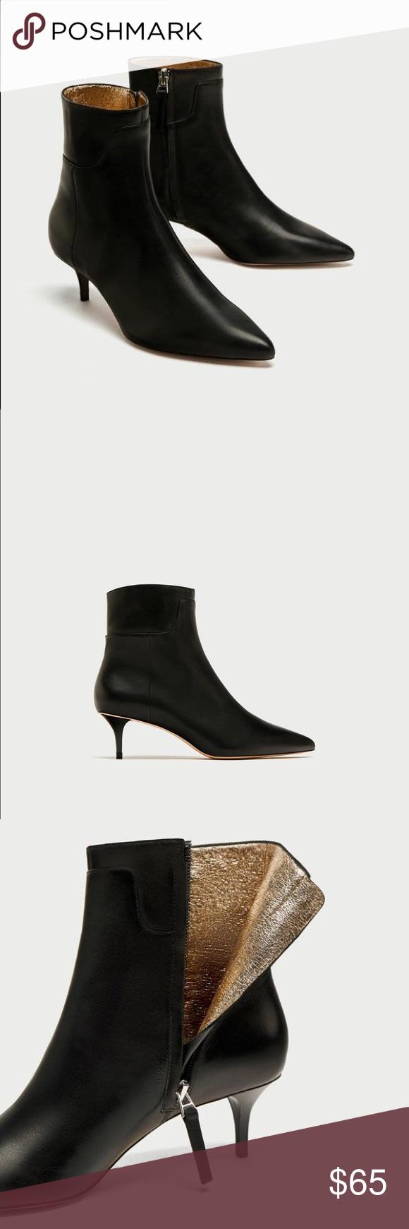 Nwt Zara Black Leather Kitten Heel Ankle Boots Kitten Heel Ankle Boots Zara Black Boots