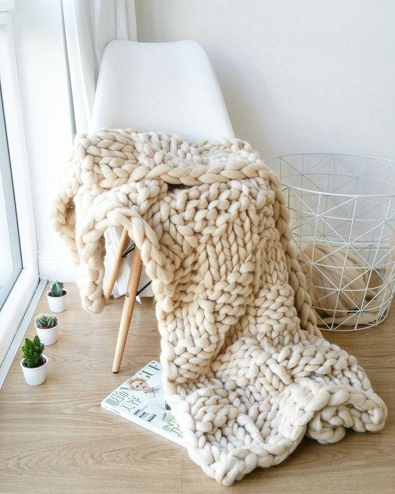Chunky Knit Blanket Luxury Bed Runner Giant Cream Throw Merino Awesome Cream Chunky Throw Blanket