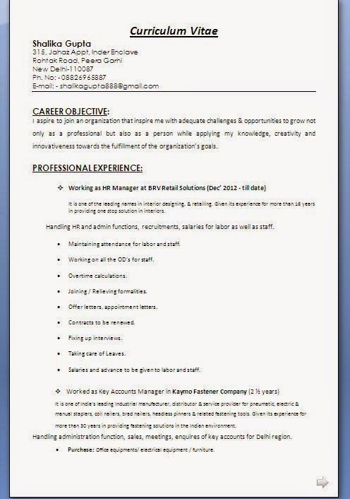 Cv Professional Format Curriculum Vitae Resume How To Be Outgoing Hr Management