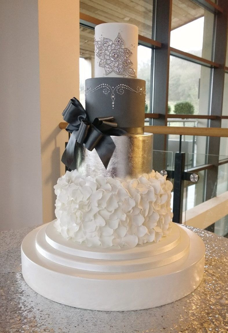 Stunning grey silver white and bling wedding cake emma jayne cake