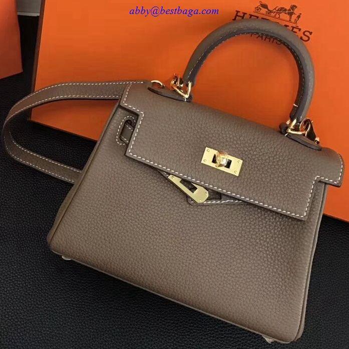 537bf320ce 2018 Hermes Clemence Leather Kelly 20cm Mini Bag Etoupe