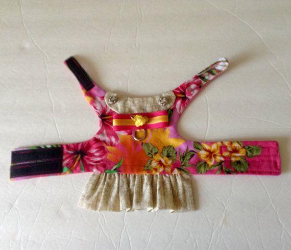 Small Dog Harness Vest Hawaiian Print by BloomingtailsDogDuds