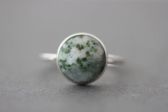 Statement Ring  Sterling Tree Agate Ring  Size 8.75 by tladesigns, $45.00