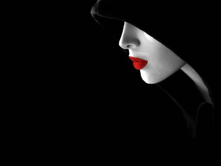 Red Lips Red Black Digital Nice Beautiful White Serene