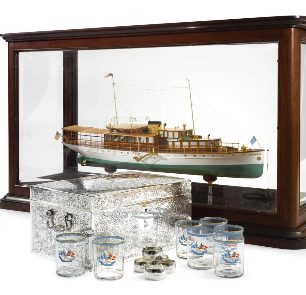 YACHT NIRVANA / HOLGER STRUCKMANN / FROM / FREDERICK C. FLETCHER and applied with two enameled pennants, the two-compartment interior fitted with a removable wood tray and a humidor fitting. It was 100 feet long, 18 feet beam, and, with its two 150 h.p. Winton diesel motors, had a speed of 14 miles per hour. | eBay!