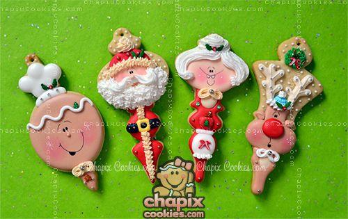 Myri's Ornament Cookies - M/M Santa  Reindeer!