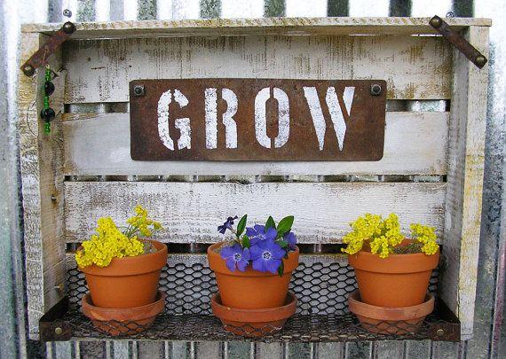 Rustic Plant Box With Terracotta Pots, Handcrafted, Vintage, Wall Hanging,  Rustic Wall. Rustic Wall ArtRustic WallsGarden ...