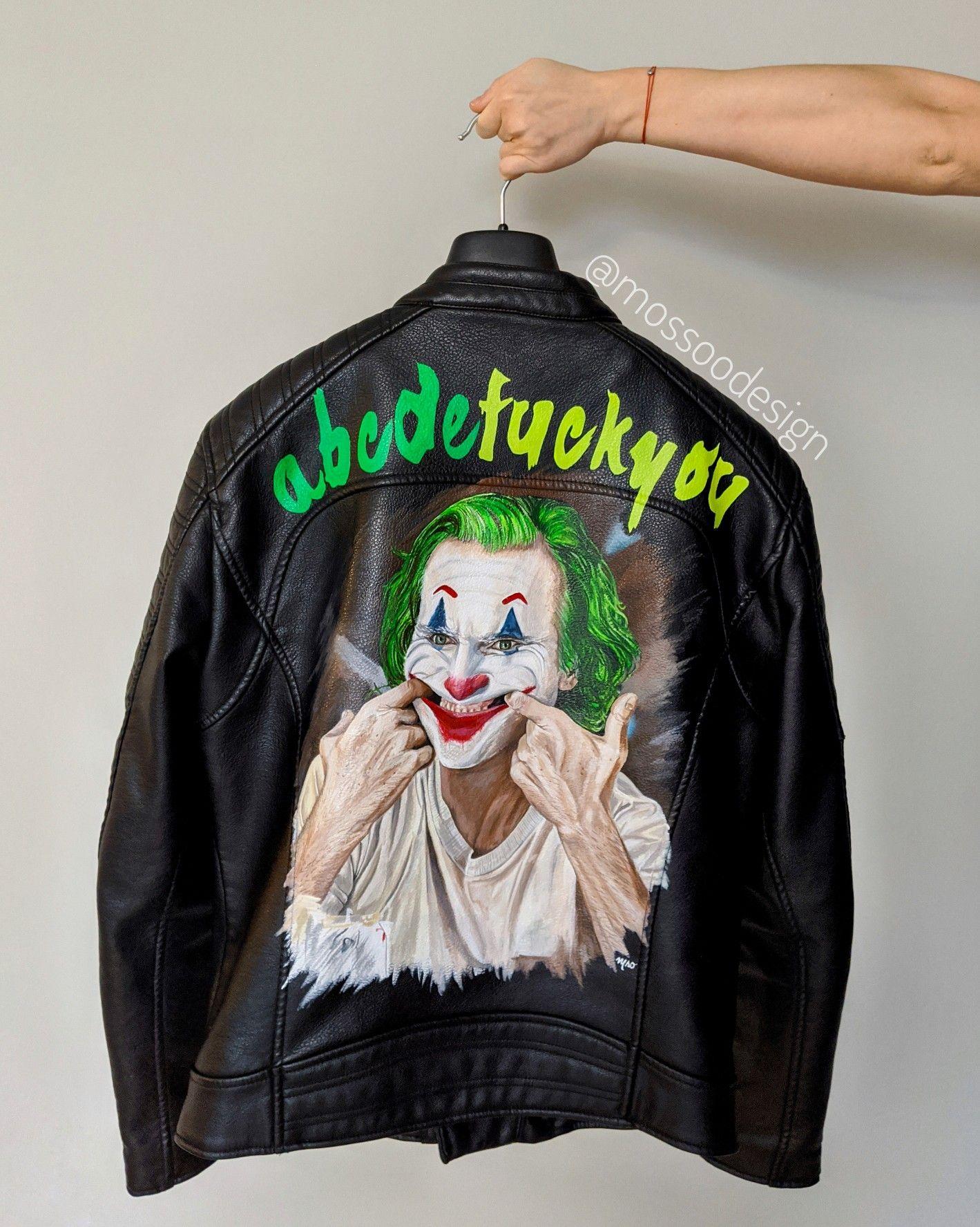 Joker Jacket By Mossoodesign Joker Jacket Painted Leather Jacket Hand Painted Leather Jacket [ 1775 x 1419 Pixel ]