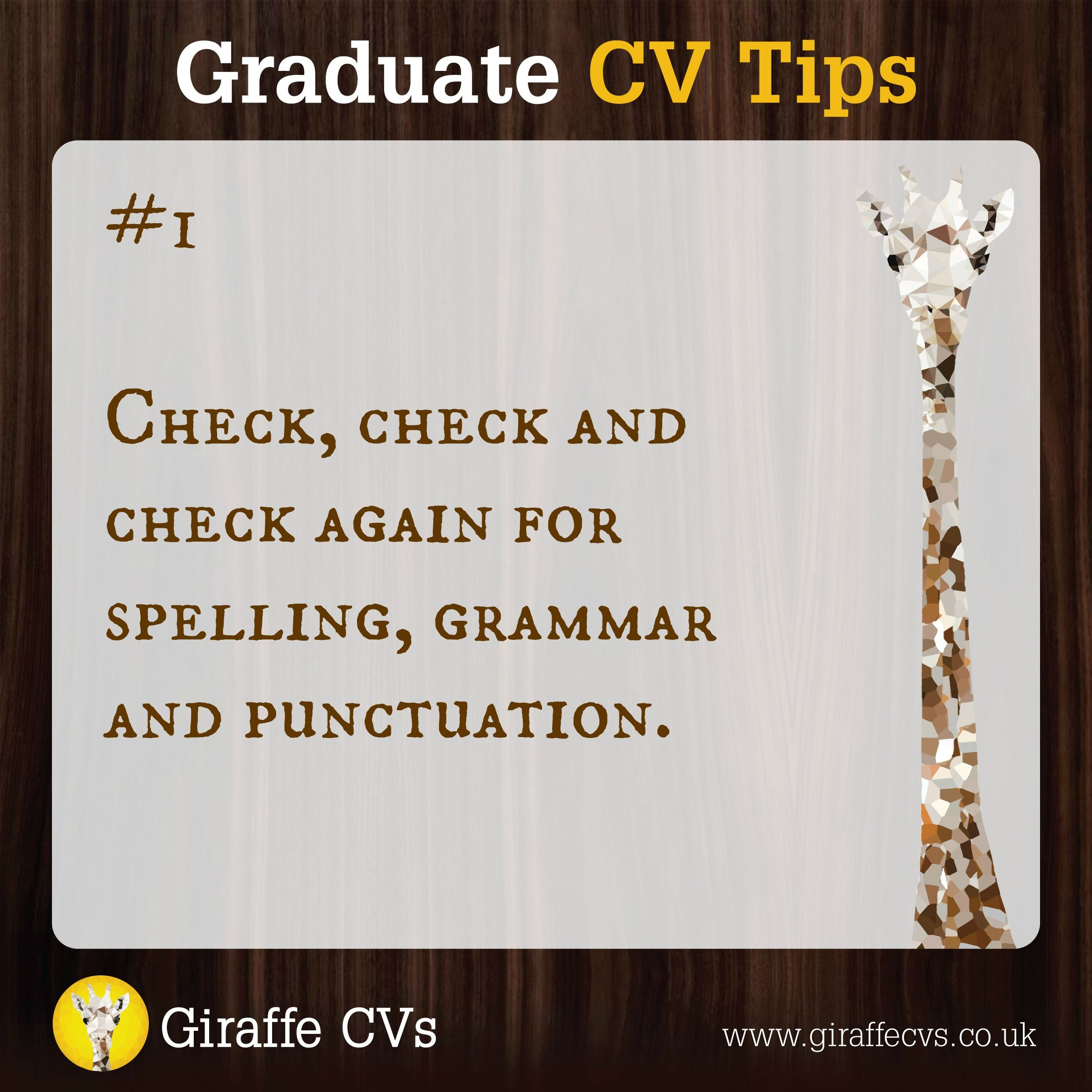 cv tip 1 check check and check again for spelling grammar and