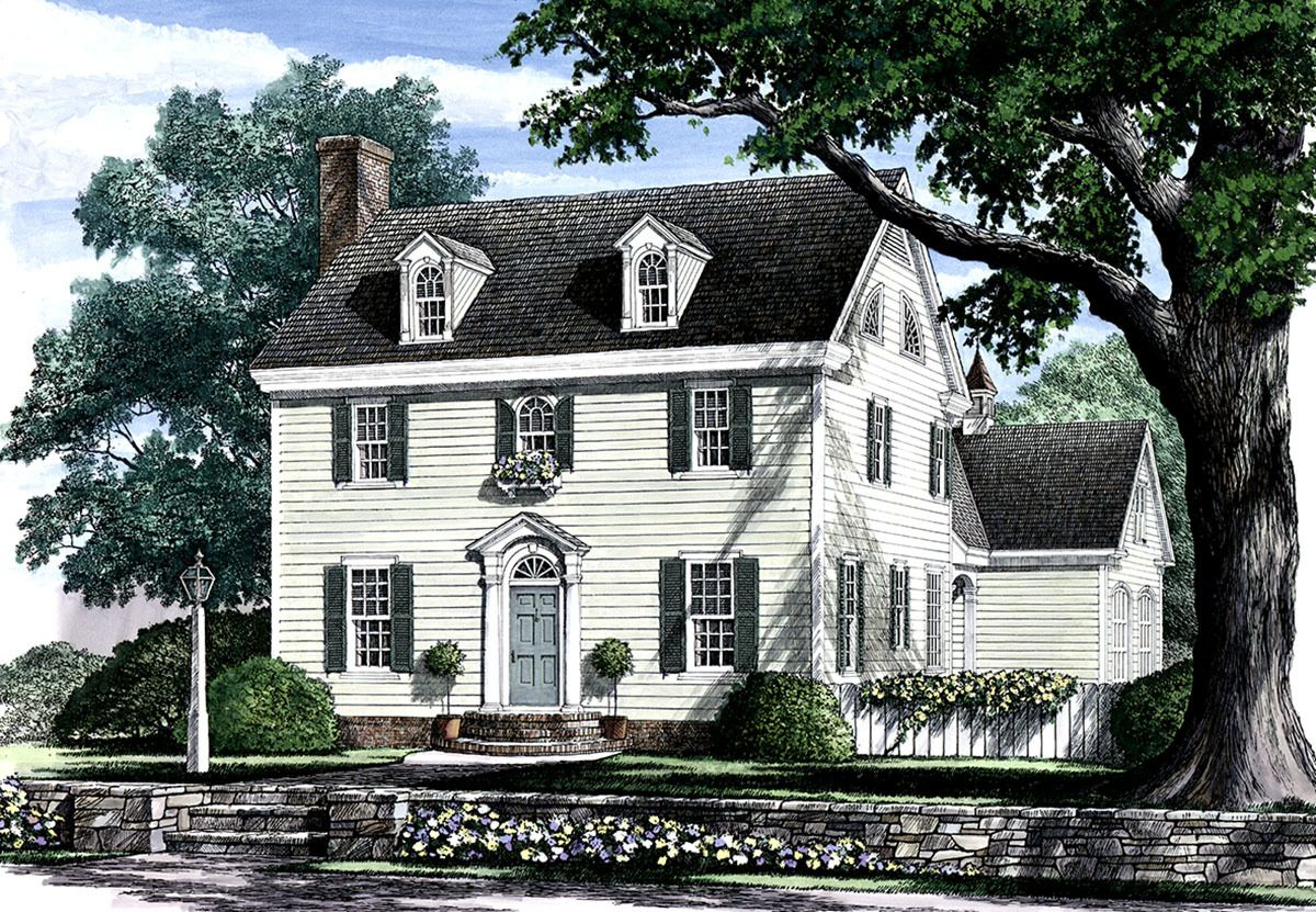 Appealing Colonial Home Plan 32441WP