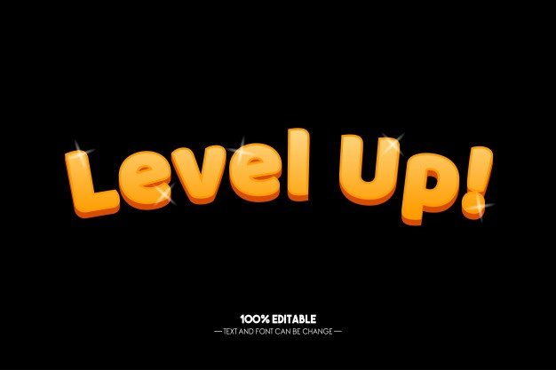 Level Up Text Style For Game Tittle Banner Template Design Book Template Word Patterns