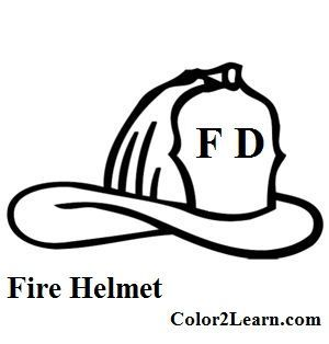 Fire Hat Coloring Page Firefighter Fireman Hat Helmet Drawing