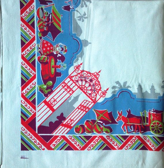 Beautiful Vintage Mexican Print Tablecloth by VictorianWardrobe, $29.99