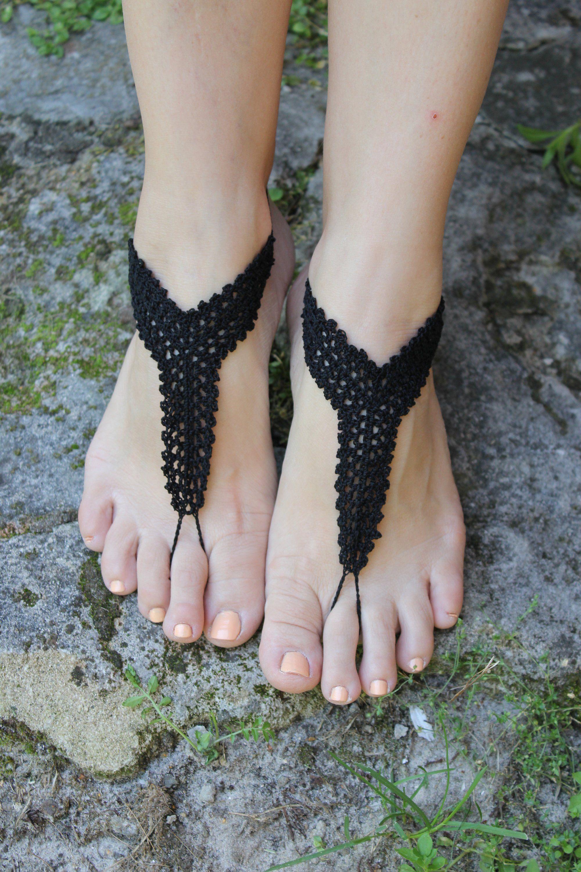 Wedding barefoot sandals Beach wedding shoes Crochet