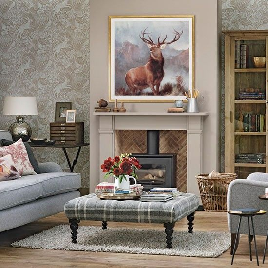 Yellow Traditional Living Room With Tartan Upholstery Heritage