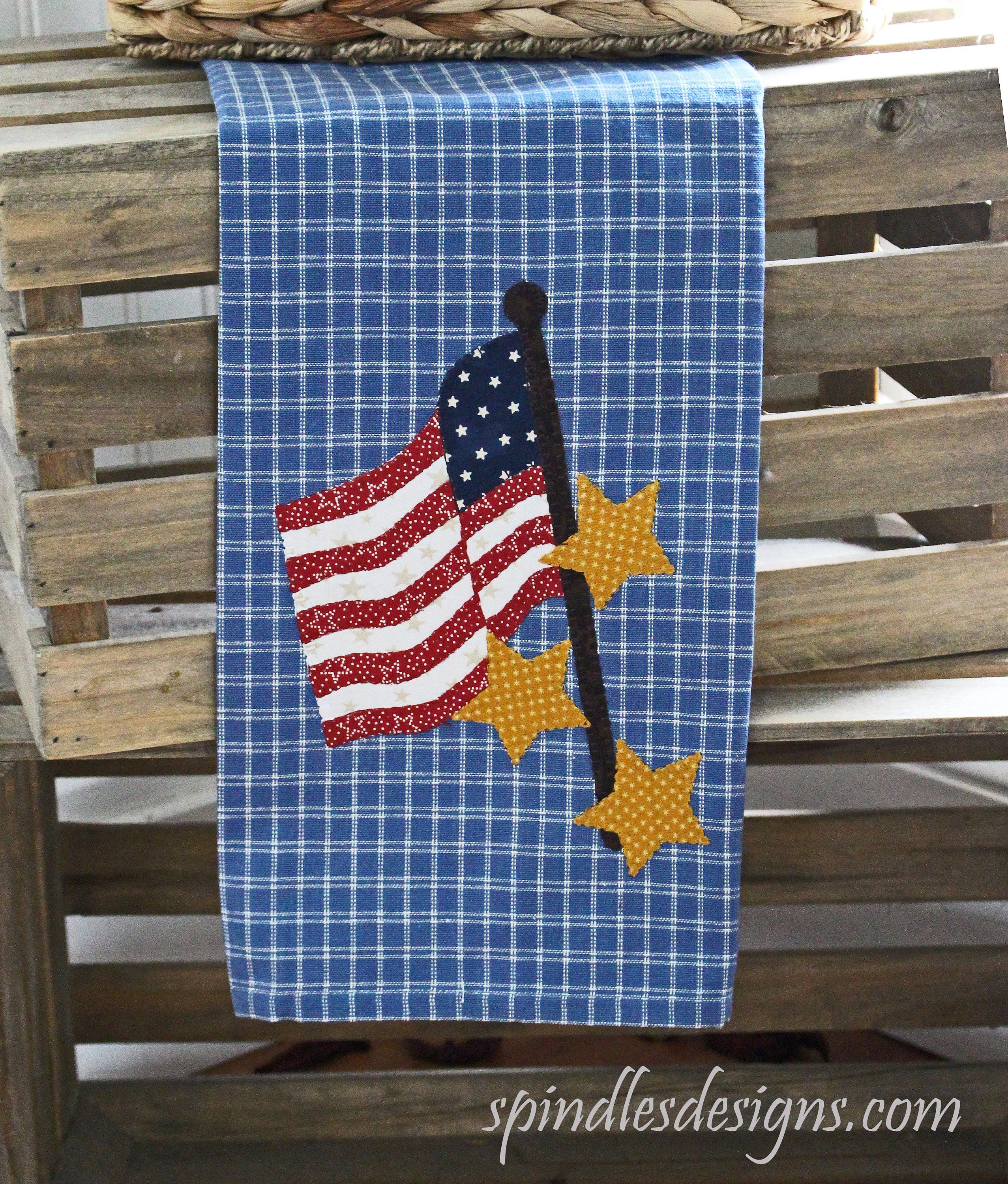 4th Of July Kitchen Towel Americana Towel Applique Kitchen Towel