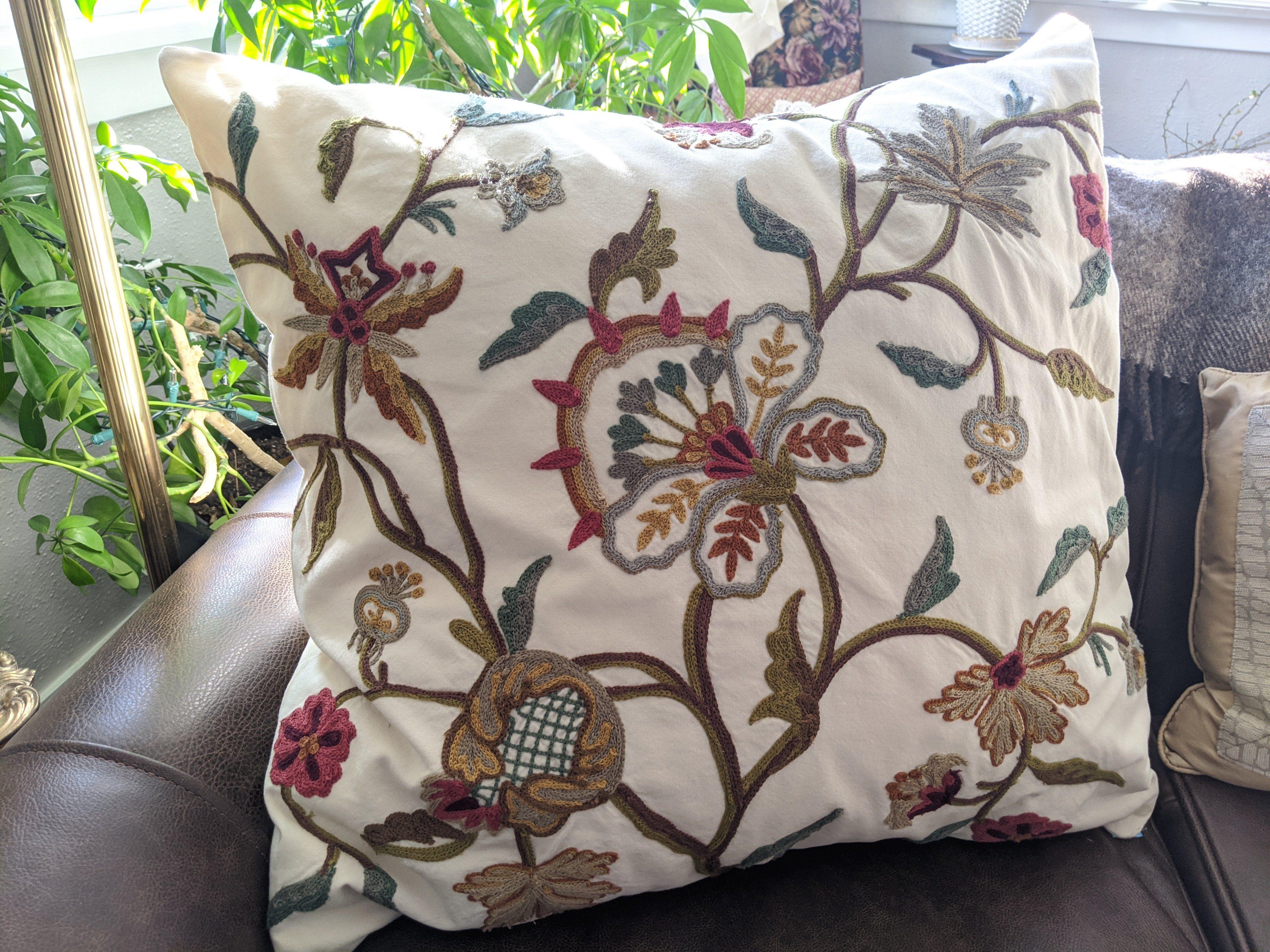 pottery barn crewel floral euro pillows