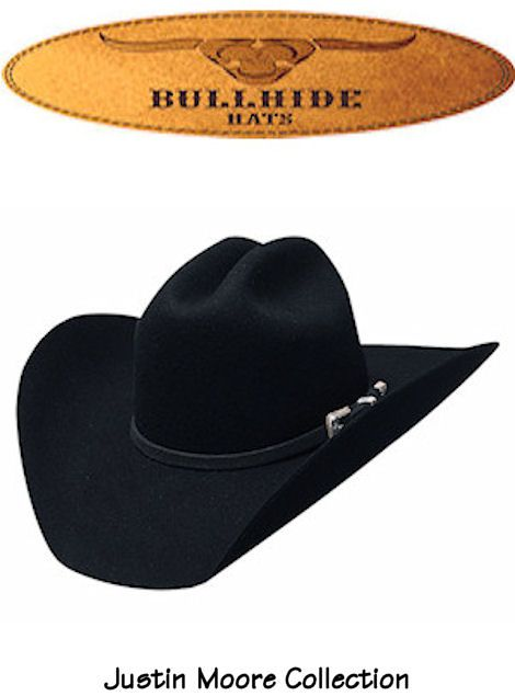 7283f874dfc Bullhide Hats Wool Felt Back Roads 6X Justin Moore Signature Collection  0625BL Mens Black cowboy hat  fathersday  cowboyhat
