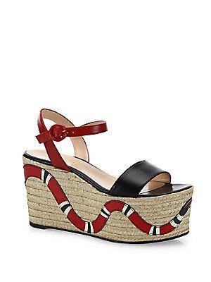 beba000e470a Gucci Barbette Snake Leather Espadrille Platform Wedge Sandals ...