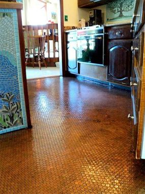 Fun And Funky Flooring Ideas To DIY Or Buy A Belted Floor Its A - Copper penny floor grout