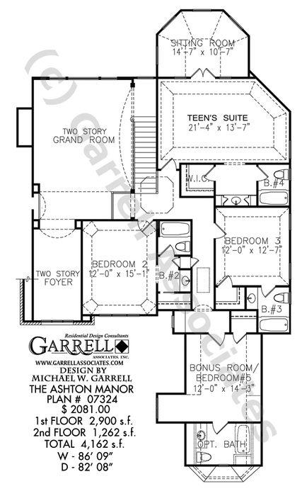 Manor House Drawing: Ashton Manor House Plan - 07324