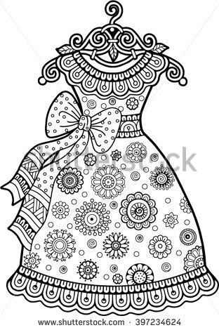 Vector Coloring Book For Adult Vintage Dress With Floral Ornament
