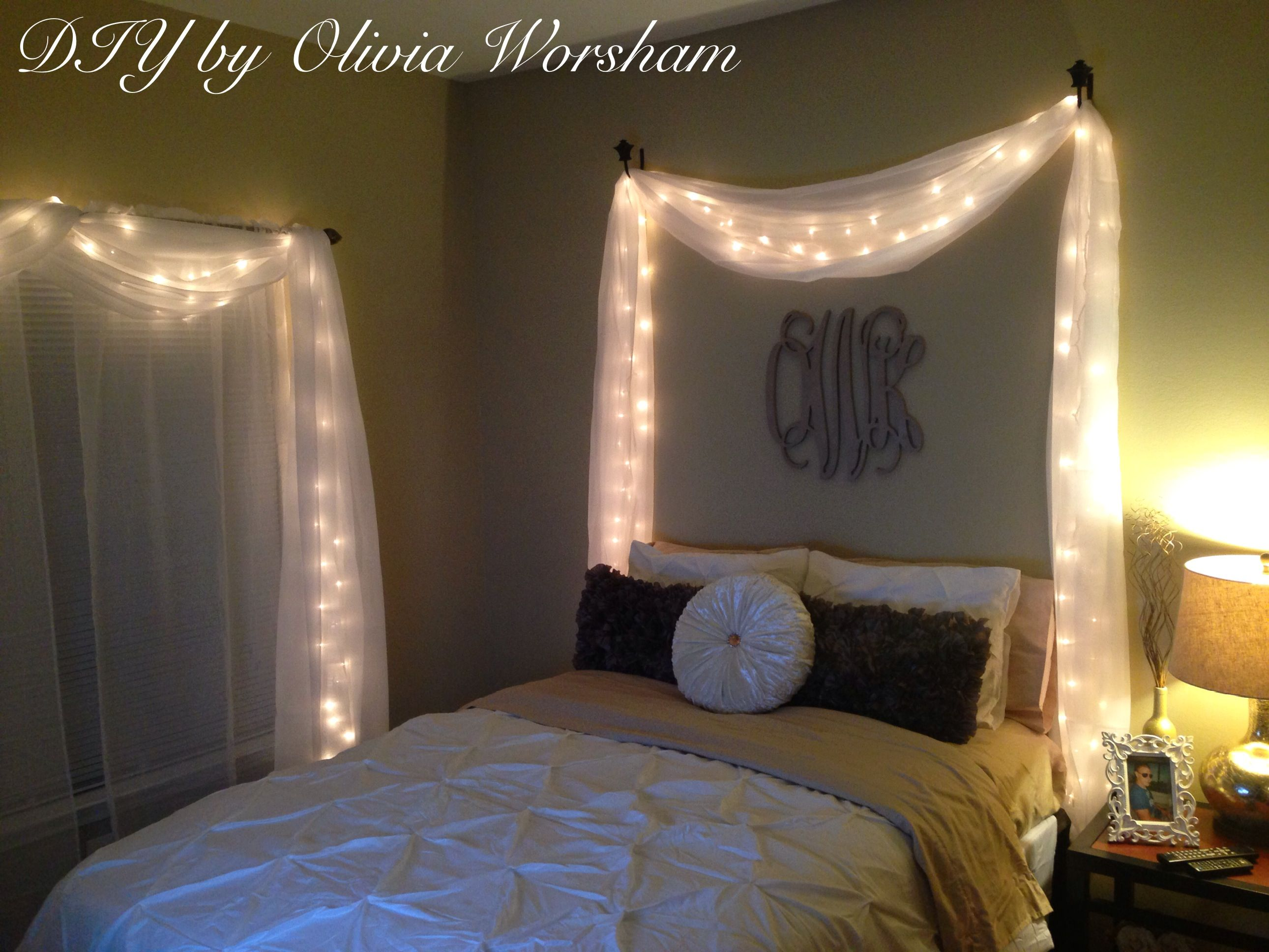Bedroom wall string lights - String Lights With White Sheer Drapes