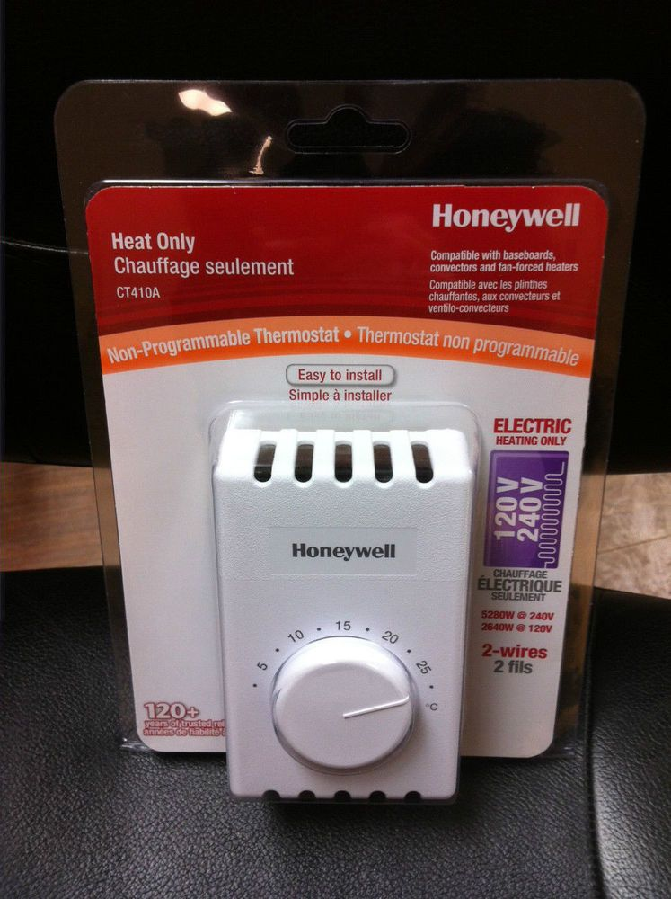 Honeywell CT410A MANUAL THERMOSTAT single pole 2 wires