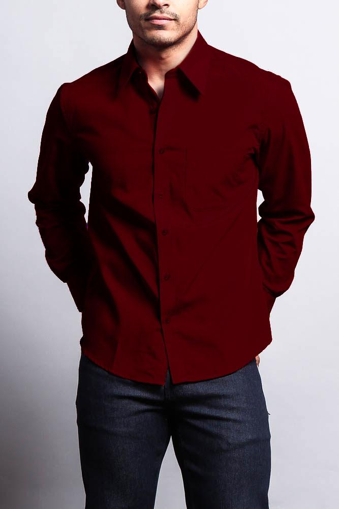 Men s Basic Solid Color Button Up Dress Shirt (Burgundy)   Products ... 9e3b76e9b6d