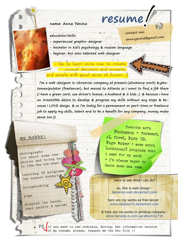 Awesome scrapbook-style CV   Resume by andrew Creative - I O Psychologist Sample Resume