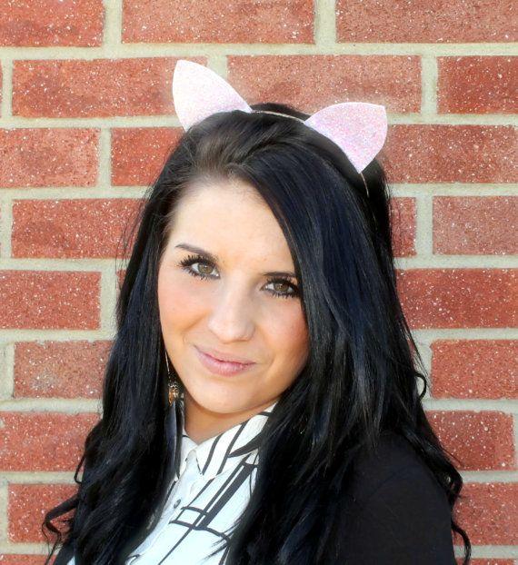 SPARKLY GLITTER CAT EARS SILVER ALICE HEAD HAIR BAND FANCY DRESS HEN DO