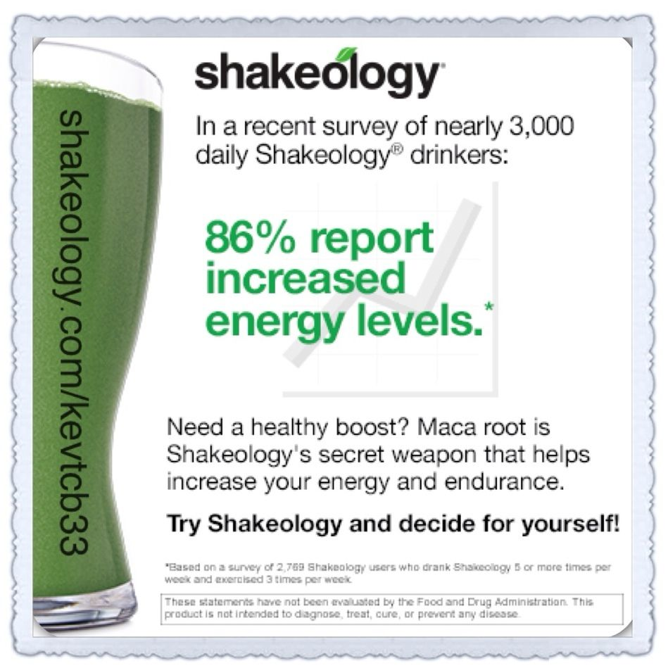 Do you want to feel more energized like I do everyday?    A World of Superfood Nutrition In Every Glass of Shakeology®  Shakeology is your daily dose of dense nutrition. It's simply the most delicious, superfood-packed protein shake on the planet.  Go to shakeology.com/kevtcb33 OR message me for more details.