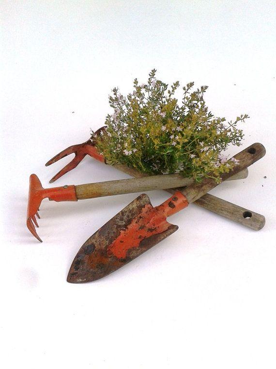 French Garden Tools Small Short Handled Trowel Spade Rake