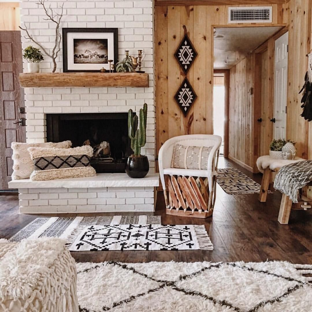 I Ve Always Loved Our Aztec Diamonds Hung Up This Way Our Happy Cabin Love Everything In This Pic Bohemi Brick Fireplace Decor Home Home Decor