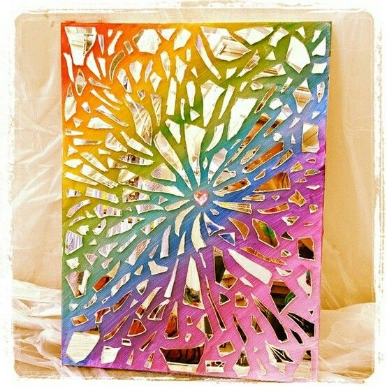 Great idea this was made from broken mirror pieces love for Mosaic pieces for crafts
