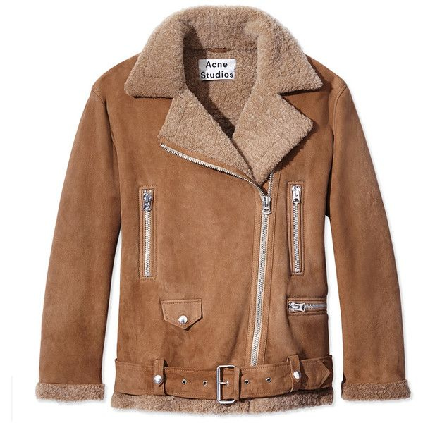 Acne Blonde Suede & Shearling Jacket (€2.475) ❤ liked on Polyvore featuring outerwear, jackets, neutrals, acne studios, suede jacket, zipper jacket, suede shearling jacket and brown jacket