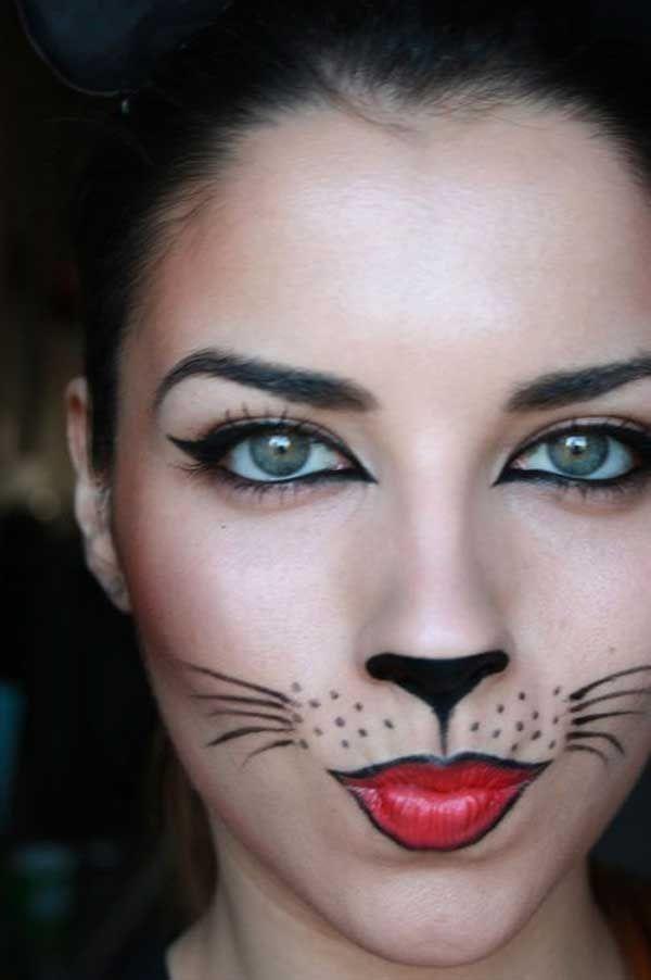 Quick Halloween makeup ideas DIY easy simple halloween makeup kitty - cat halloween makeup ideas