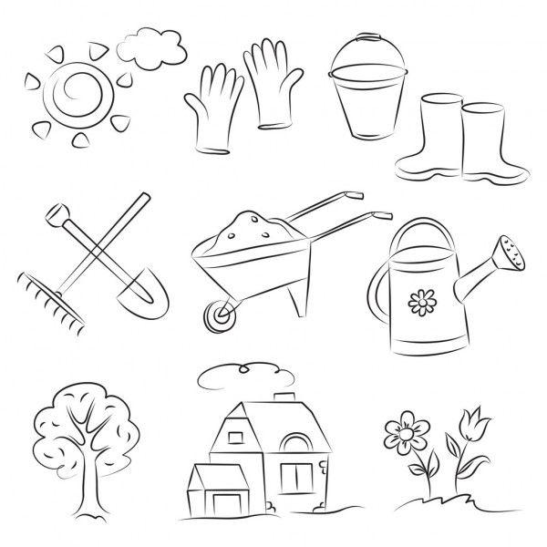 gartenskizzenset — stockillustration  illustration