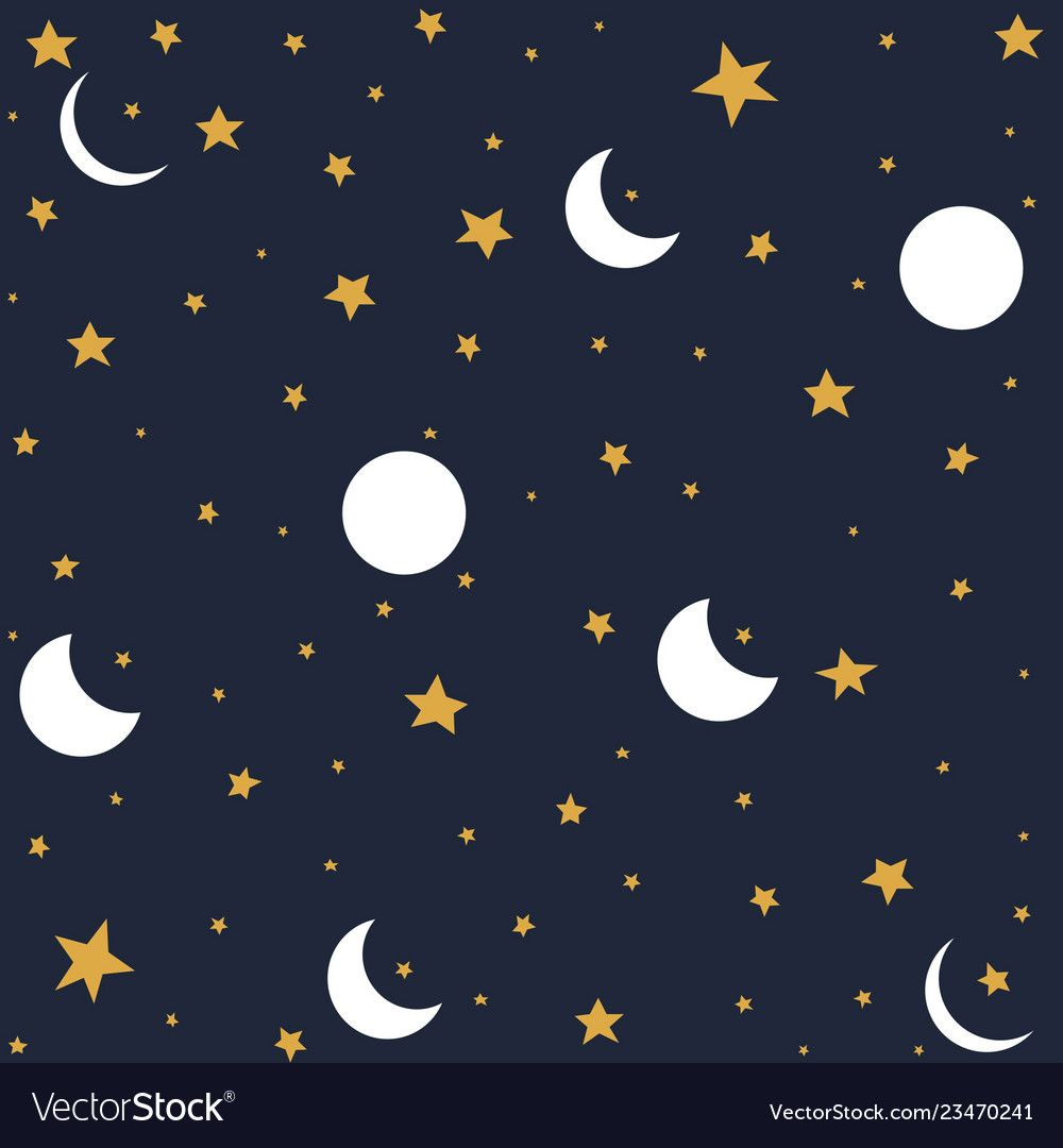 Seamless Pattern With Moon And Stars Royalty Free Vector Seamless Patterns Vector Free Pattern