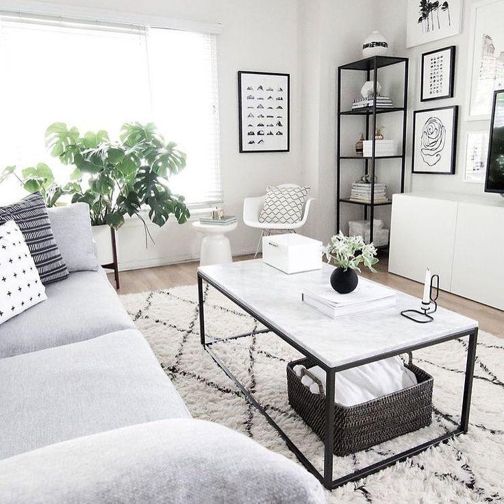 Graues Sofa, Farben Weiß Grau Schwarz, Wohnzimmer