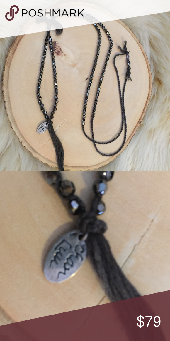 Chan Luu beaded necklace with tassels Gorgeous Chan Luu crystal beaded necklace in a smoky quartz color...cotton cord with tassel Chan Luu Jewelry Necklaces