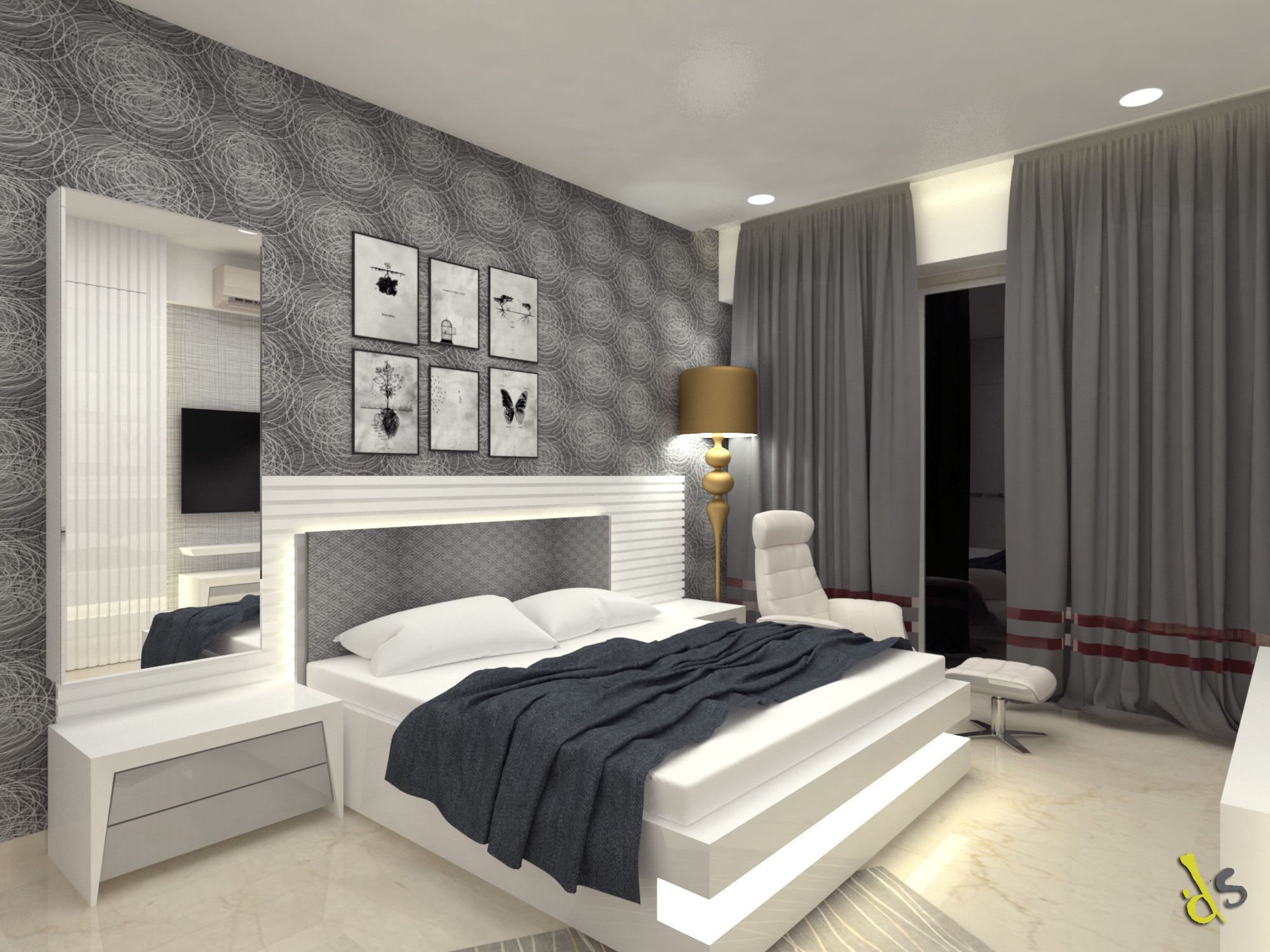 Bed room furnished with grey colored appearance . White