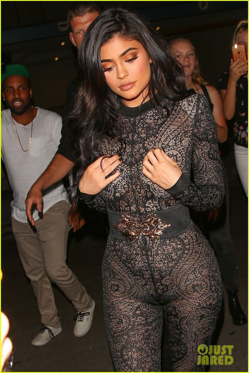 6001c9e34b3 Kylie Jenner Wears Super Sexy Lace Jumpsuit for 19th Birthday Party ...