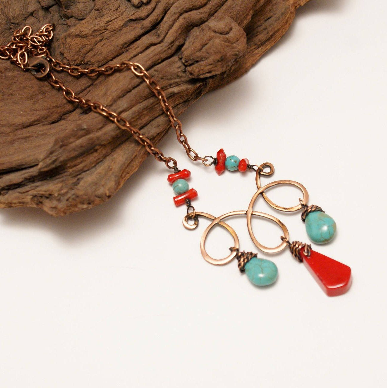 Turquoise and Coral Necklace, Copper Wire Jewelry, Wire Wrapped ...