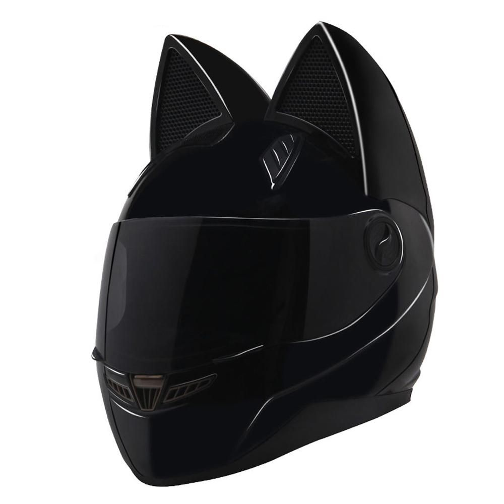 NITRINOS Motorcycle Helmet Women Moto Helmet Cat Full Face Casque Moto Casco Cat Horns Motorbike Capacete Motorcycle Helmets Cheap Motorcycle Helmets