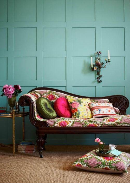 Chaise, Lounger, Furniture, Home Decor, Blue, Colour, Throw Pillows, Candelabra