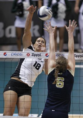 Kalei Adolpho Hits As Uc Davis Allison Whitson Goes Up To Block University Of Hawaii Volleyball University