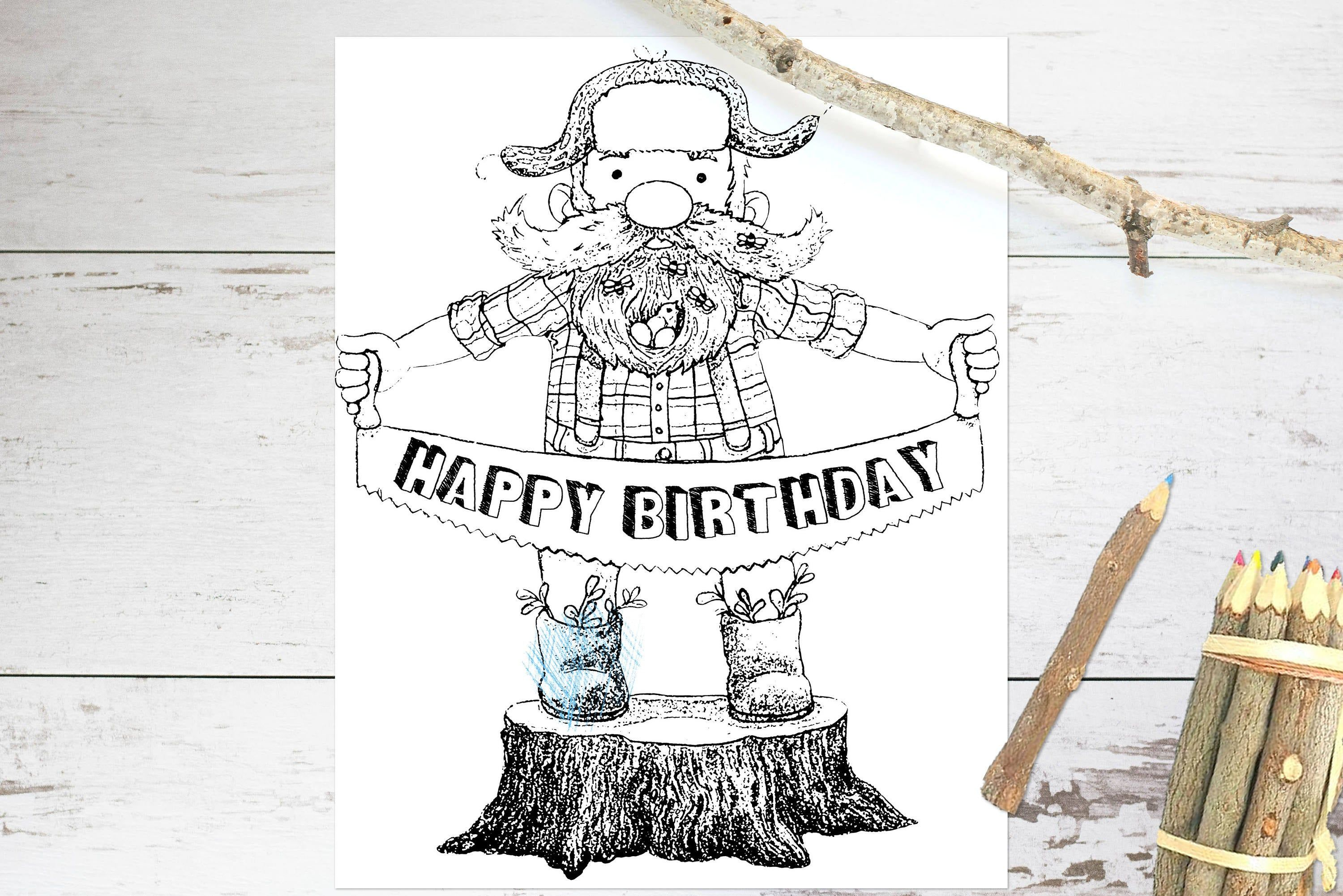 Fun Addition To My Etsy Shop Lumberjack Coloring Page Lumberjack Birthday Party Activity Birthday Party Activities Lumberjack Birthday Party Party Activities
