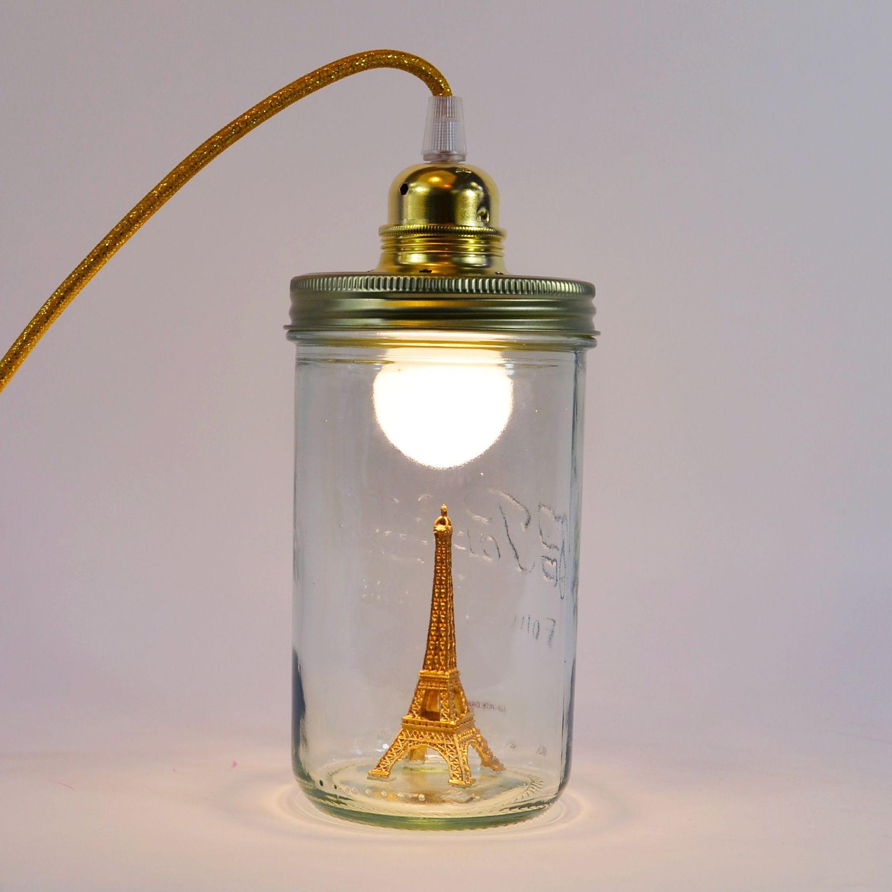 Lampe A Poser La Tete Dans Le Bocal Tour Eiffel Lampe A Poser Baladeuse Or Paillete H17 5cm 17985 958 Jpg 1800 1800 Lamp Light Lamp Mason Jar Lamp